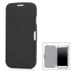 Protective PU Leather + Plastic Flip-Open Case for Samsung Galaxy S4 / i9500 - Black