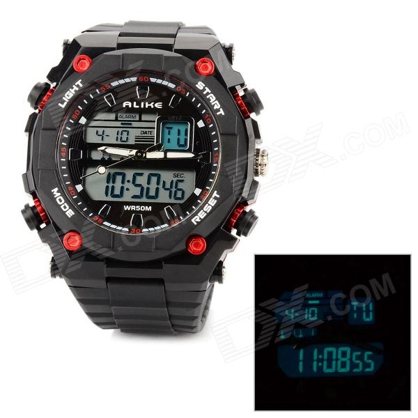 AK1275 Sport Acrylic Dial Rubber Band Quartz Analog + Digital Wrist Watch for Men - Black + Red аксессуар чехол книга innovation book для apple iphone 6 6s silver 10560