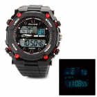 AK1275 Sport Acrylic Dial Rubber Band Quartz Analog + Digital Wrist Watch for Men - Black + Red