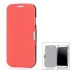 Protective PU Leather + Plastic Flip-Open Case for Samsung Galaxy S4 / i9500 - Red + Black