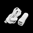 UMIQU C501 Dual USB Car Charger w / Apple 30-Pin-Kabel für iPhone 4 / 4S / iPod Touch 4 - Weiss