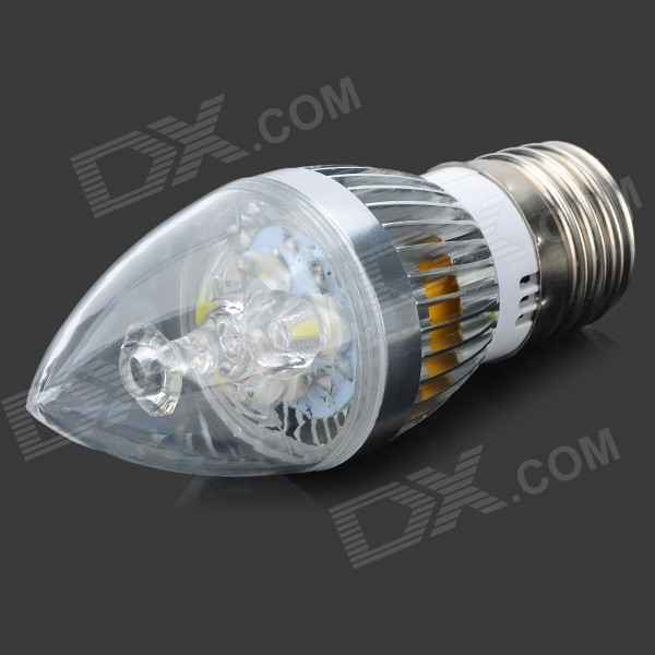 TongHeZhaoMing E27 3W 280lm 6500K 3-LED White Candlelight Shaped Lamp (85~265V)