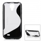 Protective TPU Back Case w/ Stand for Samsung Galaxy S4 i9500 - Black + Transparent