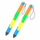 Building Block Style Foldable Cellphone Strap Blue Ink Ballpoint Pen (2 PCS)