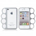Cute Finger Rings Style Aluminum Alloy Back Bumper Case Cover for Iphone 4 / 4S - Silver