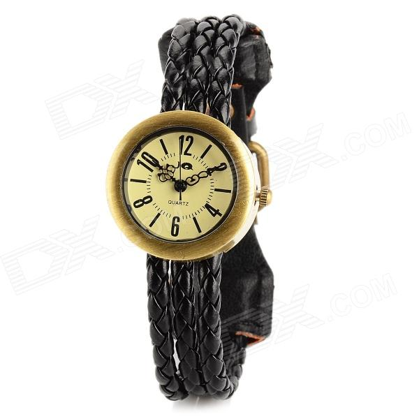 Fashion PU Leather Braided Band Analog Quartz Wrist Watch for Women - Black + Bronze