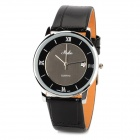 HAIBO 6240-B Stainless Steel Quartz Analog Men's Wrist Watch w/ Calendar - Black + Silver