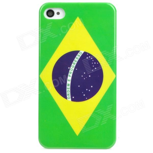 Protective Brazil Flag Pattern PVC Back Case for Iphone 4 / 4S - Green + Yellow + Purple cartoon pattern matte protective abs back case for iphone 4 4s deep pink