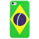 Protective Brazil Flag Pattern PVC Back Case for Iphone 4 / 4S - Green + Yellow + Purple