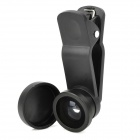 2-in-1 Clip-On Fisheye + Micro Lens Set for Iphone / HTC / Samsung - Black