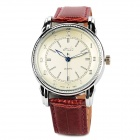 HAIBO 6263-W Stainless Steel Leather Band Quartz Analog Men's Wrist Watch - Claret Violet + Silver