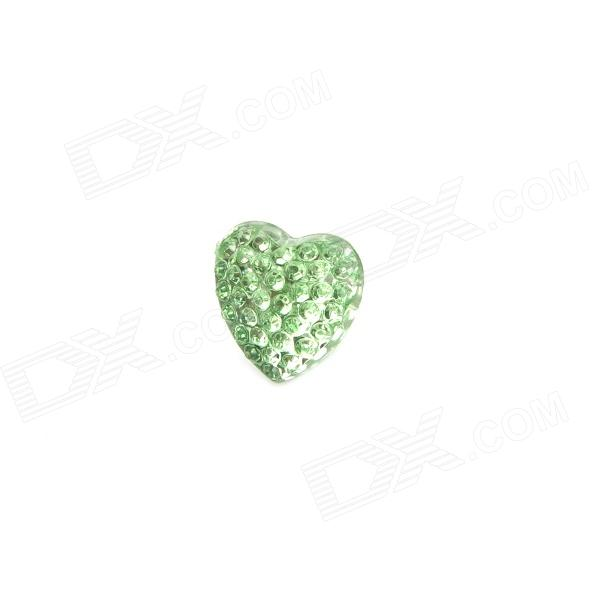 Heart Style w/ Crystal Plastic 3.5mm Jack Anti-dust Plug for Iphone 4 / 4S / 5 + More - Light Green