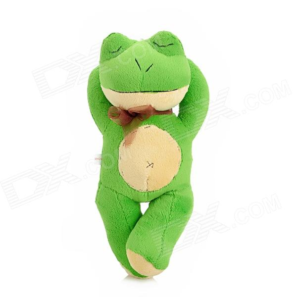 Cute Sleeping Korte Pluche Kikker Doll Toy w - strik - Zuignap - Groen