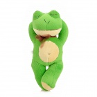 Cute Sleeping Short Plush Frog Doll Toy w/ Bowknot / Suction Cup - Green
