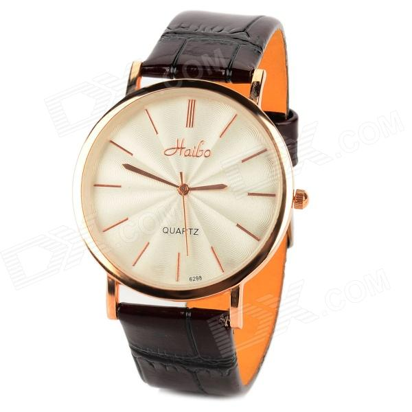 HAIBO 6298-G Stainless Steel Leather Quartz Analog Men's Wrist Watch - White + Brown + Rosy Golden fashion split leather band quartz analog bracelet wrist watch for women black 1 x 377