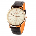 HAIBO 6298-G Stainless Steel Leather Quartz Analog Men's Wrist Watch - White + Brown + Rosy Golden
