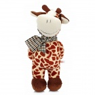 Smilling Short Plush Cow w/ Bowknot / Suction Cup Doll Toy - Brown + White