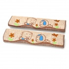 CHIEF JPNQ-K001 Cute Cartoon Design Polyester Fabric Car Seat Belt Cover - Light Coffee (2 PCS)
