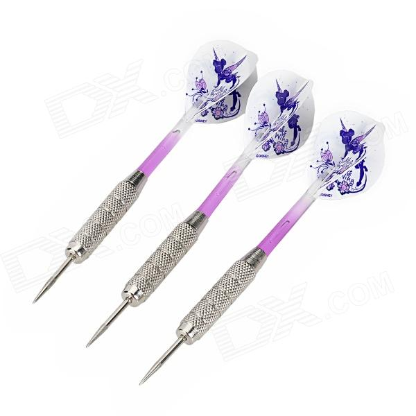 Fairy Pattern Flight Sharp Nickel Plated Iron Darts - Silver + Purple (3 PCS) fairy pattern flight sharp nickel plated iron darts silver purple 3 pcs