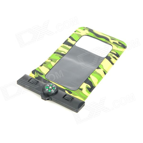 Waterproof Bag Pouch w/ Compass + Armband + Neck Strap for Iphone 5 / 4 / 4S - Camouflage Green zippered sports armband bag pouch for iphone 4 dark blue