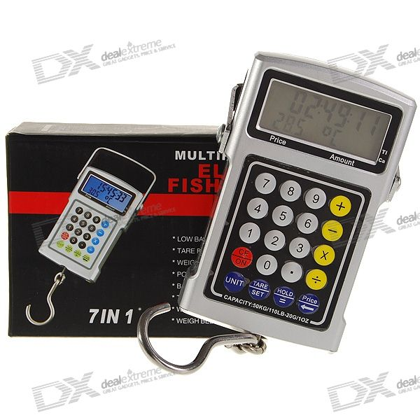 "1.9"" LCD Electronic Hook Scale with Time/Temperature/Tape/Calculator (50KG Max / 20g Resolution)"