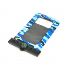 Waterproof Bag Pouch w/ Compass + Armband + Neck Strap for Iphone 5 / 4 / 4S - Camouflage Blue