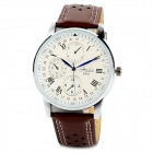 HAIBO 6310-W Men's Round Dial Quartz Roman Numeral Analog Wrist Watch - White + Brown (1 x LR626)