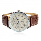 HAIBO 6310-W Men's Quartz Roman Numeral Analog Watch - White + Brown
