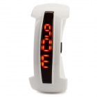 Waterproof Resin Glass Dial Plastic Casing LED Digital Bracelet Wrist Watch - White