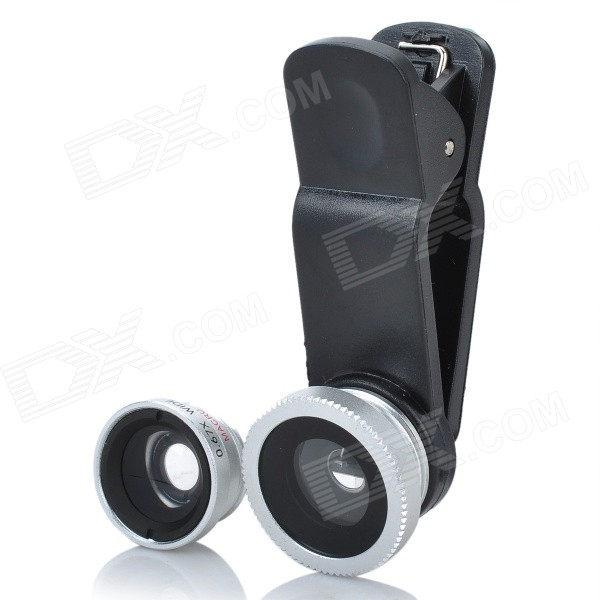 Universal 3-in-1 Clip-On Fisheye + Wide Angle + Macro Lens Set for Iphone / Samsung - Black + Gray