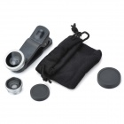 Fisheye + Wide Angle + Macro Lens Set for IPHONE + More - Black + Gray