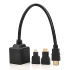 HDMI Male to 2-Female Splitter Adapter Cable w/ HDMI Female to Mini HDMI / Micro HDMI Male Adapter