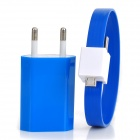 USB Power Adapter w / Armband Stil USB-Stecker an Micro-USB-Charging-Datenkabel - Blau (EU-Stecker)