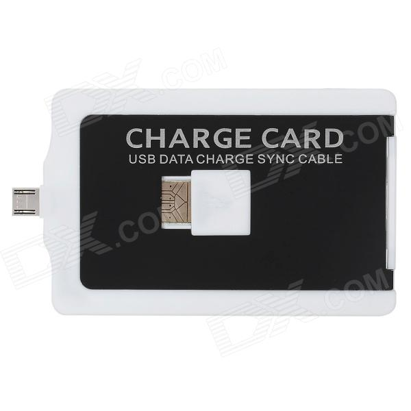 V8 Card Style USB to Micro USB Data/Charging Cable for Samsung / HTC / Nokia / Sony - White + Black richino rs m01 usb to micro usb data charging cable for nokia samsung htc motorola orange
