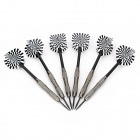 Concentric Dartboard Pattern Flight Tungsten Plated Iron Darts - Black (6 PCS)