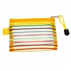 PVC Colorful Ribbon Zippered Documents File Holder Pocket Bag w/ Strap - Yellow (3 PCS / Small-Size)
