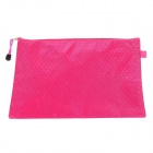 Football Grain Document File A4 Paper Holder PVC Zipper File Pocket - Deep Pink