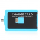 V8 Card Style USB to Micro USB Data/Charging Cable for Samsung / HTC / Nokia / Sony - Black + Blue