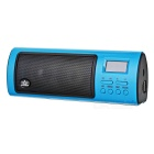 "ROYQUEEN X6III Rechargeable Portable 1.1"" LCD 2W 2-Cannel Speaker w/ FM / SD - Black + Blue"