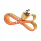 USB Male to Micro USB Male Flat Data Sync / Charging Cable for Samsung / HTC + More - Yellow (97cm)