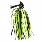 Silicone + Plastic Fishing Bait Hook w/ Tail - Black + Fluorescent green