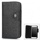 MLT Twill Pattern Protective PU Leather Flip-Open Case w/ Strap for Samsung S4 i9500 - Black