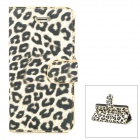 Protective Sexy Leopard Pattern PU Leather Case for Iphone 5 - Yellow