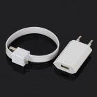 USB Power Adapter w/ Bracelet Style USB Male to Micro USB Charging Data Cable - White (EU Plug)
