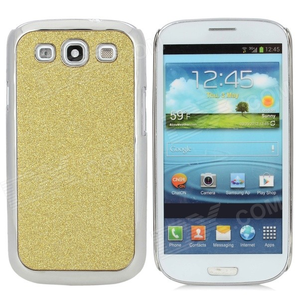 Stylish Shiny Electroplated Protective Plastic Back Case for Samsung i9300 - Golden + Silver
