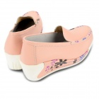 Fashion Cowhide Rubber Wedge Heel Leisure Shoes for Women - Pink (Size 39)