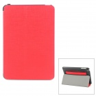 PU Leather Protective Smart Case w/ Audio Amplifier for Ipad MINI - Red + Black
