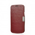 Protective PU Leather Case for Samsung Galaxy Premier i9260 - Red Brown
