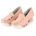 Fashion Cowhide Rubber Wedge Heel Leisure Shoes for Women - Pink (Size 40)