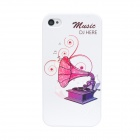 Colorfilm Gramophone Pattern Plastic Back Case for Iphone 4 / 4S - White